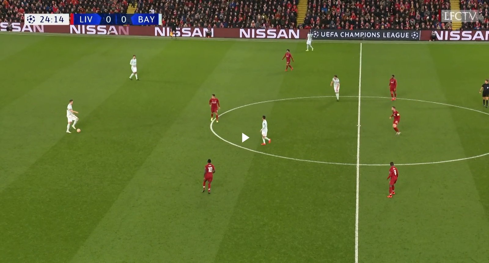 Liverpool's front and midfield 3 in their most basic positions in 4-3-3, a formation Jurgen Klopp has deployed since his first season. (Image Credits: @LFC TV on YouTube via Breaking the Lines)